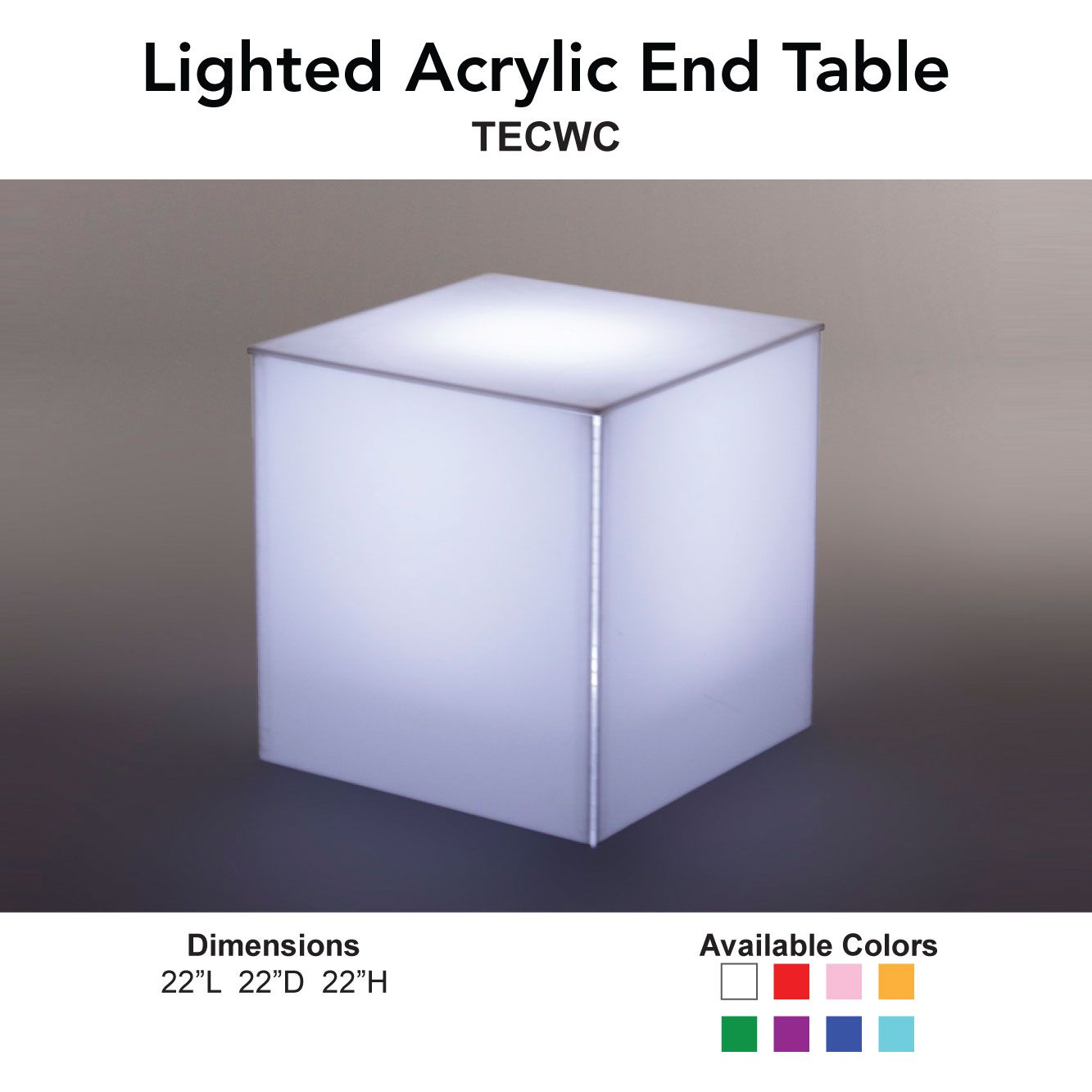 Lighted Acrylic End Table 24 Seven Productions