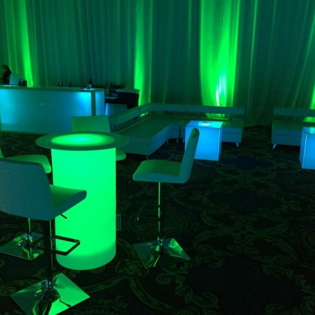 Lighted cubes and cocktail tables
