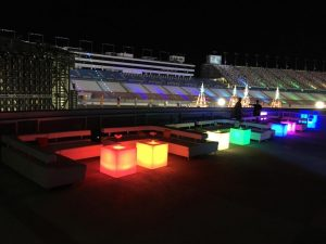 Lighted cubes and lounge scene