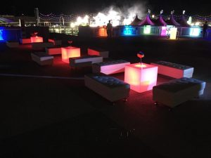 Lighted cubes and ottoman scene
