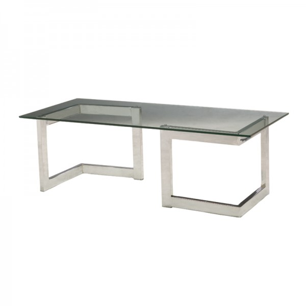 Chrome Geo Cocktail Table with Glass