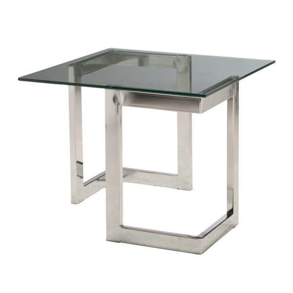 Chrome Geo End Table with Glass
