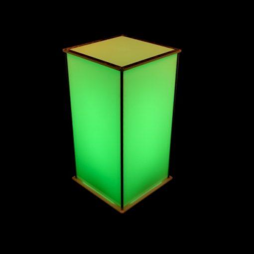 Luna Lighted Pedestal 30in green