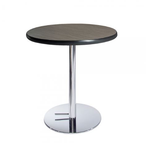 Madison Brown Round Cafe Table w/Chrome Base