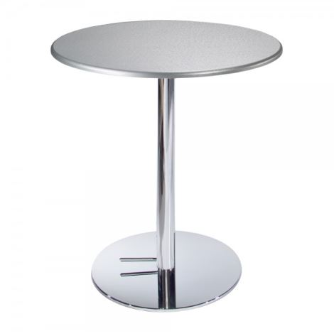 Silver Round Cafe Table w/Chrome Base