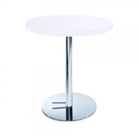 White Round Cafe Table w/Chrome Base