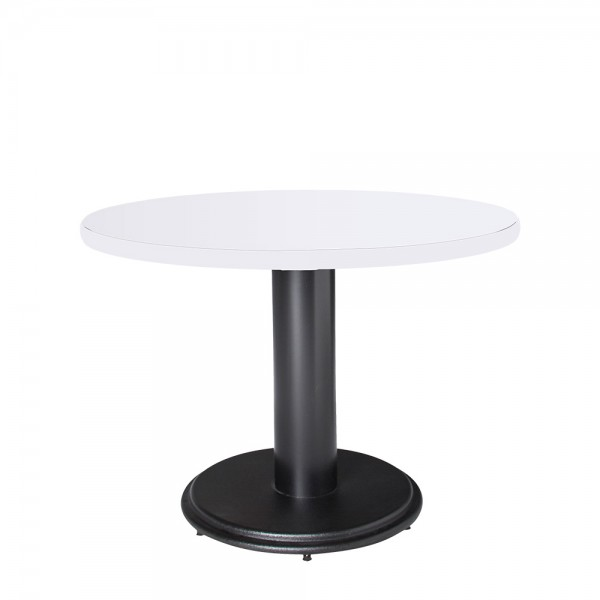 Circular Conference Table - White top w/black base