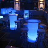 lighted high boy cocktail table blue