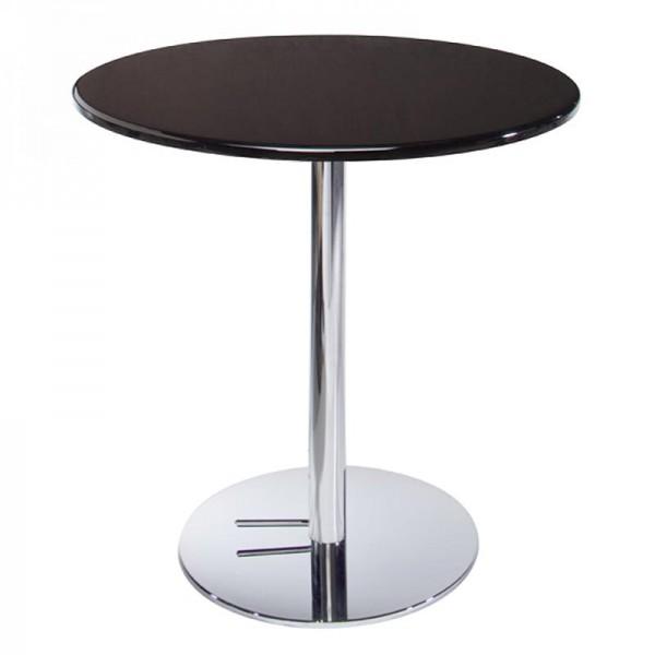 Liquid Black Cafe Table w/Chrome Base