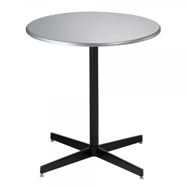 Silver Cafe Table with Black Base