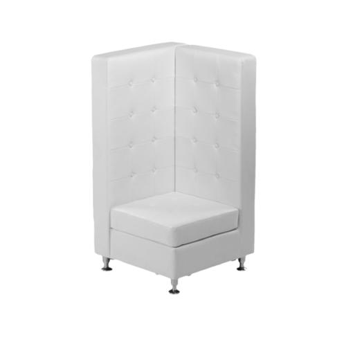 VIP White Modular High Back Corner Leather Chair