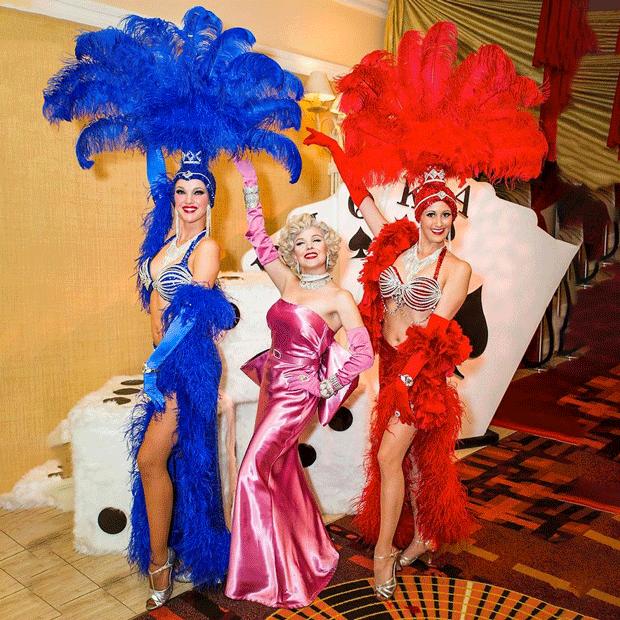 showgirls blue pink red