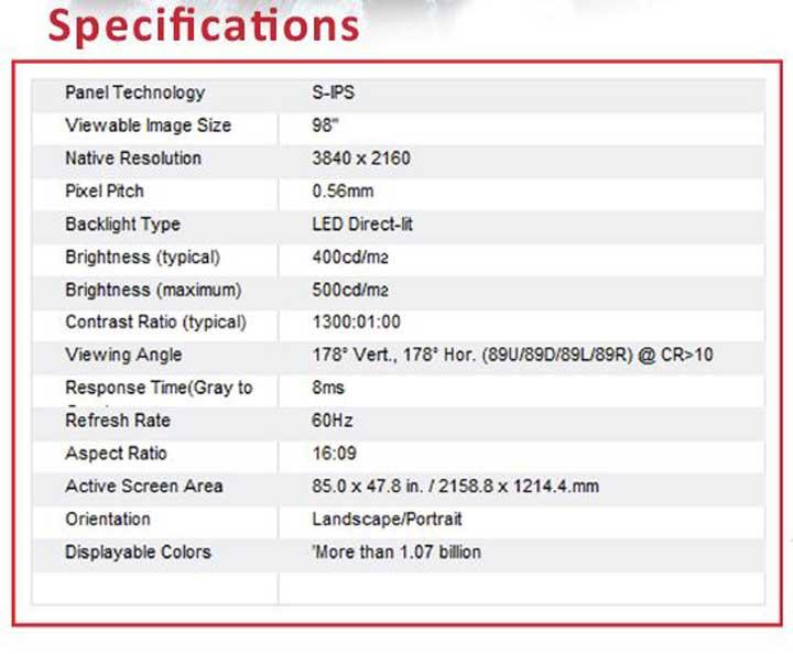 100 LED 4k UHD Display Specs