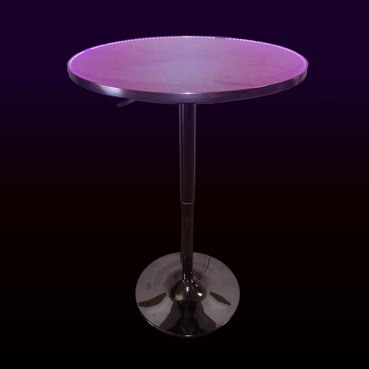 24in Round LED Cocktail Table Glow