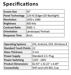 Innovate Giant Display Touch Pad Specs