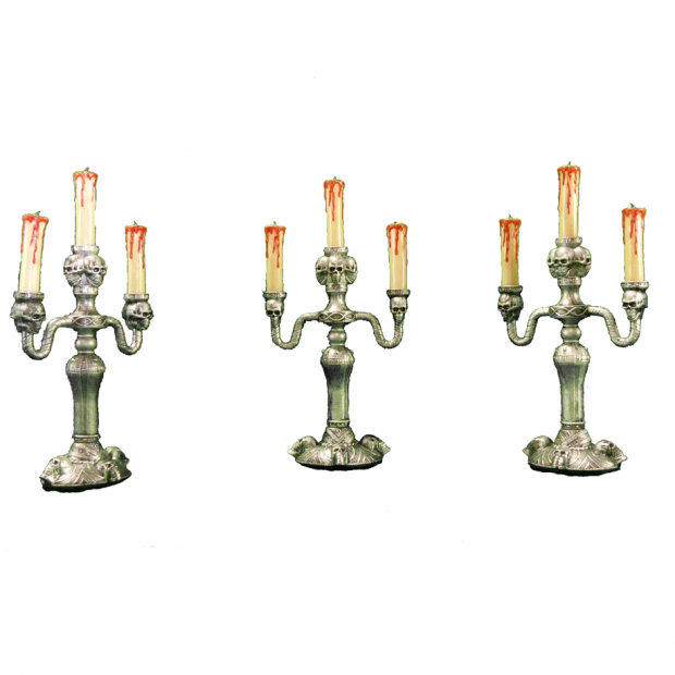 Silver Halloween Candle Holders