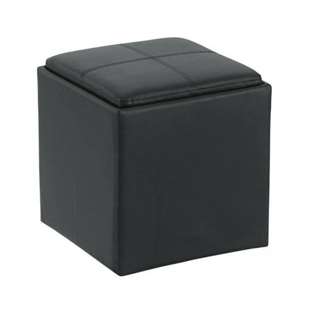 Black leather cube ottoman