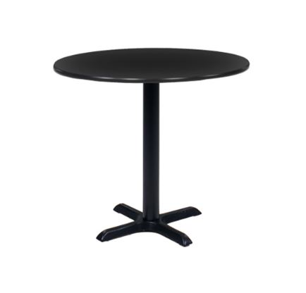 Black Round Cafe Table with Black Base