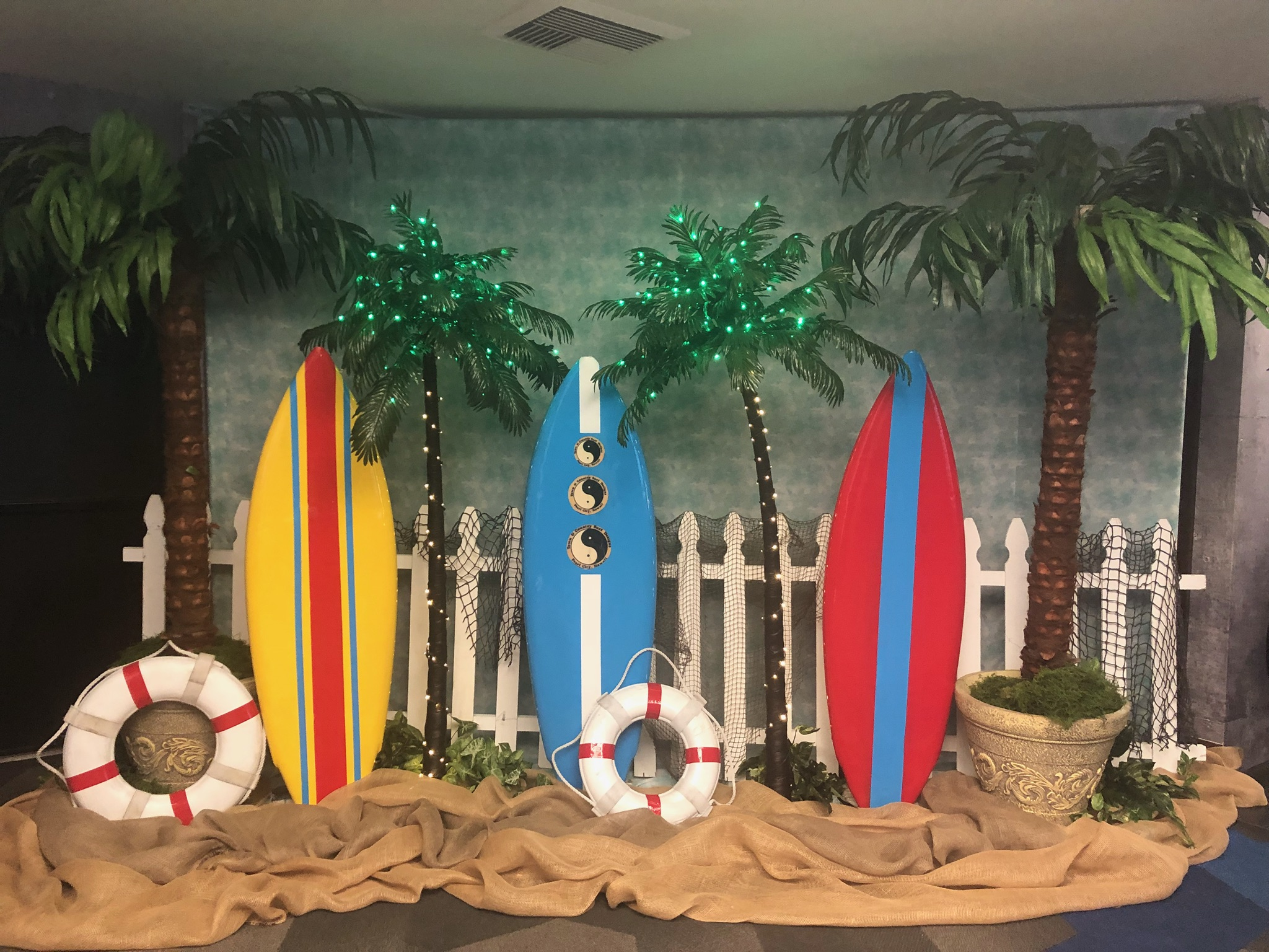 palm trees and surf boards