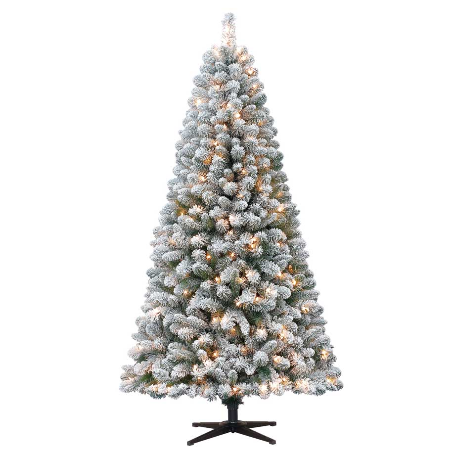 Holiday Time Pre-Lit 6.5' Crystal Pine Artificial Tree, Clear-Lights