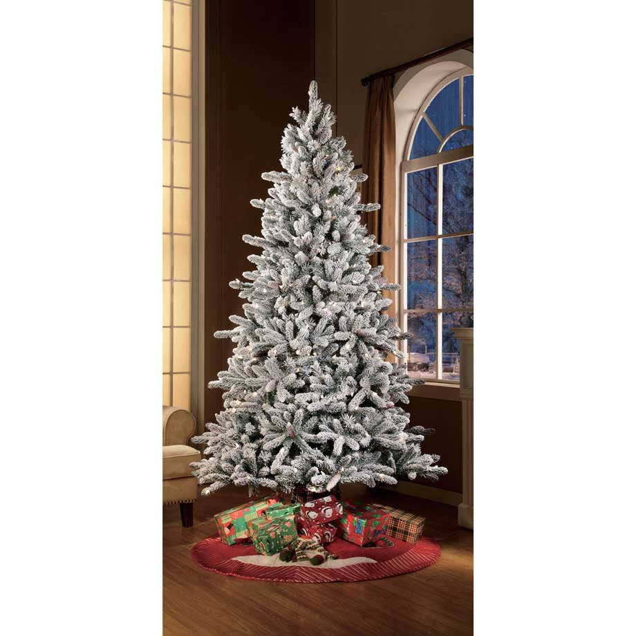 holiday time pre lit 75 green flocked birmingham fir artificial tree clear lights - Holiday Time Christmas Decorations