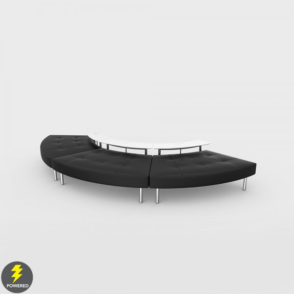 Endless Powered 3-Seat Curved Ottoman w Small Curved Tables