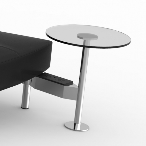 Endless Powered Large Curve High Back Sofa w Round Tables