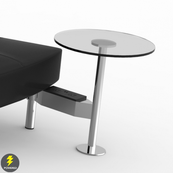 Endless Powered Small Curve High Back Sofa w 2 Round Tables