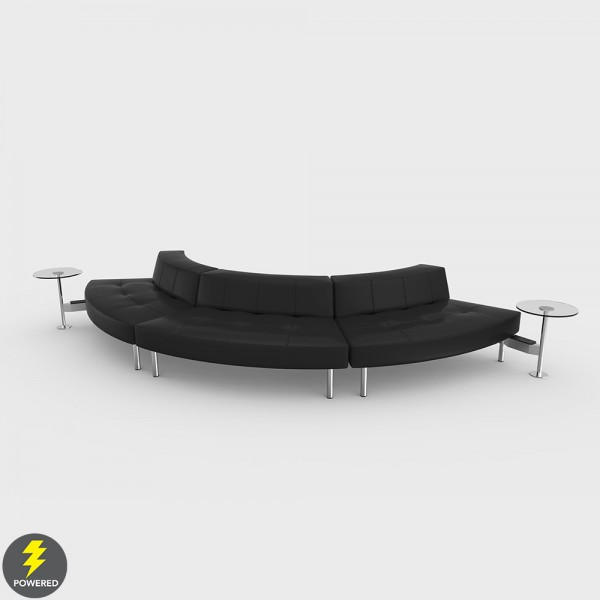 Endless Powered Small Curve Low Back Sofa w 2 Round Tables