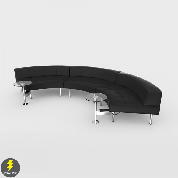 Endless Powered Large Curve Low Back Sofa W/Round Tables