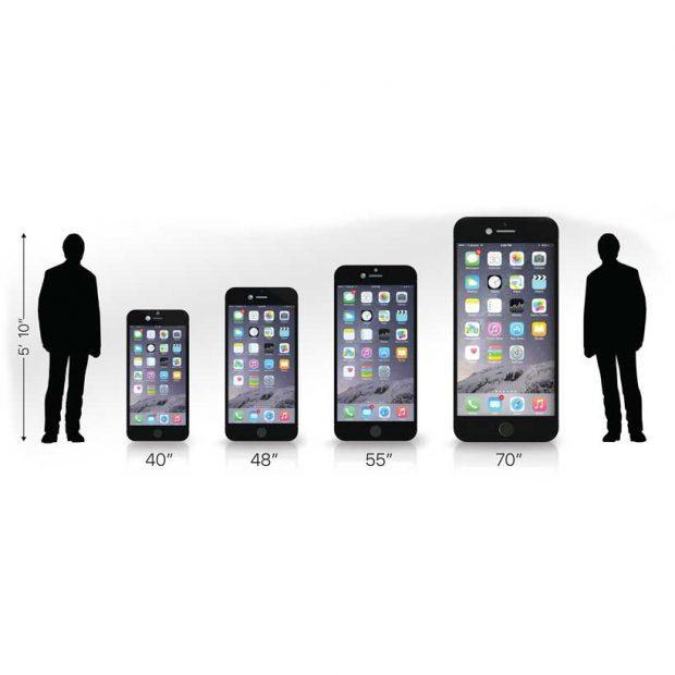 Life Sized Touchscreen phone sizes