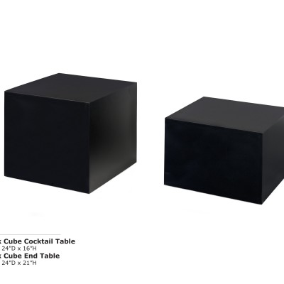Black Cube Cocktail and End Table