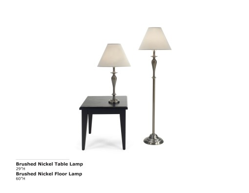 Brushed Nickel Table and Lamp