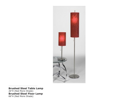 Brushed Steel Table and Lamp-Red