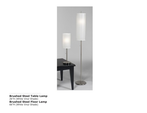 Brushed Steel Table and Lamp-White