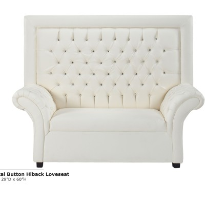 Crystal Button Hiback Loveseat