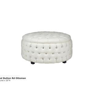 Crystal Button Round Ottoman - White