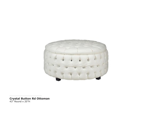 Crystal Button Round Ottoman - White